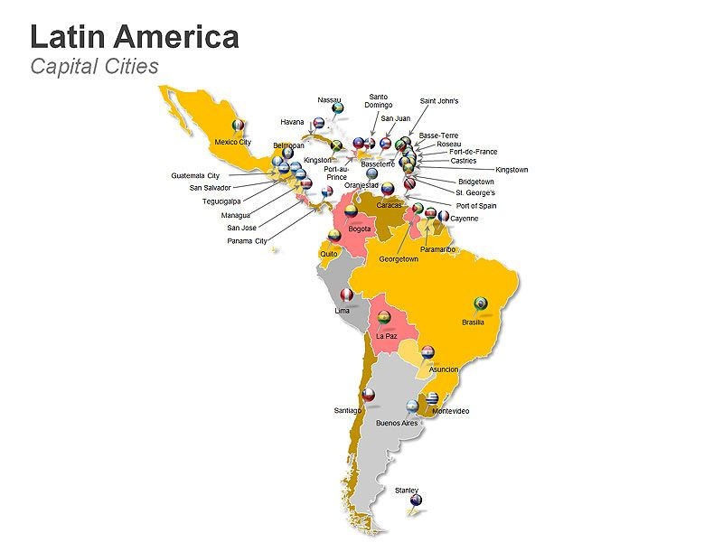Editable Powerpoint Map Latin America Countries Sudamerica