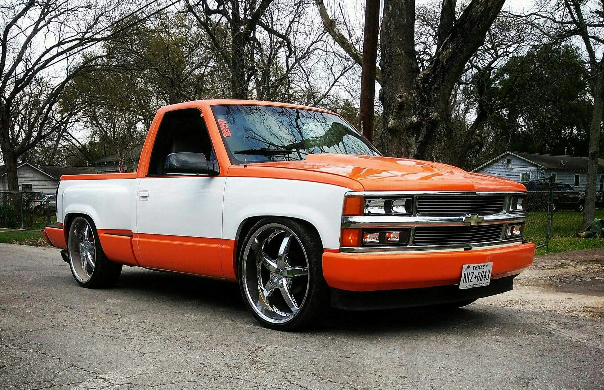 Orange and white obs chevy truck