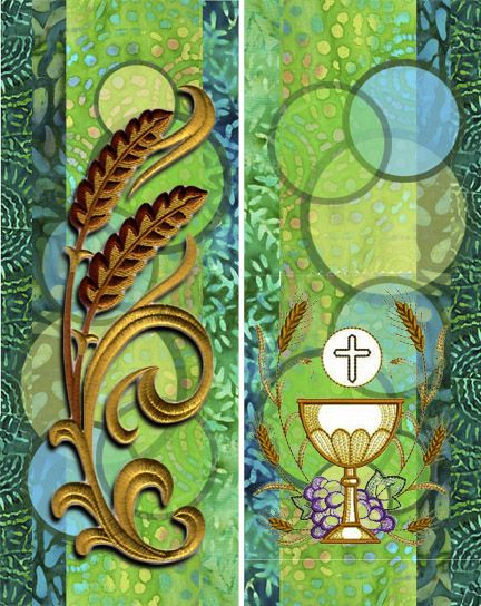 Ordinary Time Banner Design 4 of 4. A sheer panel with circles. Sheer mesh hangs over the front. The embroidery designs on this one are a bit larger and cover several circles. Change the designs to update once in awhile. by SheBella Birk