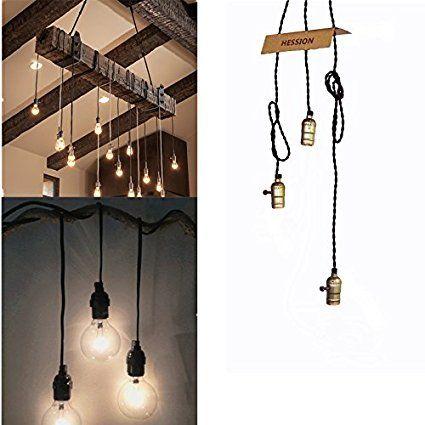 HESSION Vintage Triple Light Sockets Pendant Hanging Light Cord Plug In Light  Fixture With On