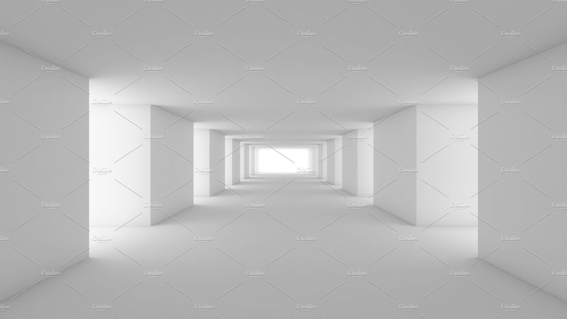 Futuristic White Empty Room 3d Render Interior Design Mock Up Illustration Interior Rendering Empty Room Modern Room
