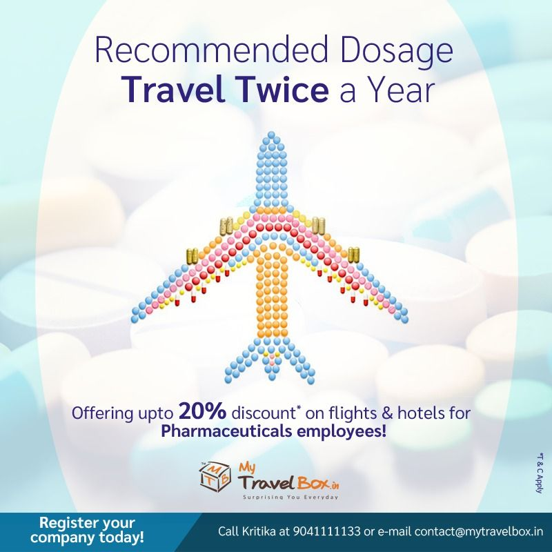 Register your company with My Travel Box and avail the special travel deals and discounts for Pharmaceutical Employees!!  #mtb #mytravelbox #travelersnotebook #pharmacytechnician #pharmacy #pharmacytravels #traveldose #pharmacytechnician #medicaltourism #travelneeded #dealofthemonth #traveldiscounts #explore #selflove #familytravel #travelwithfriends #lovefortravel #travelbreak