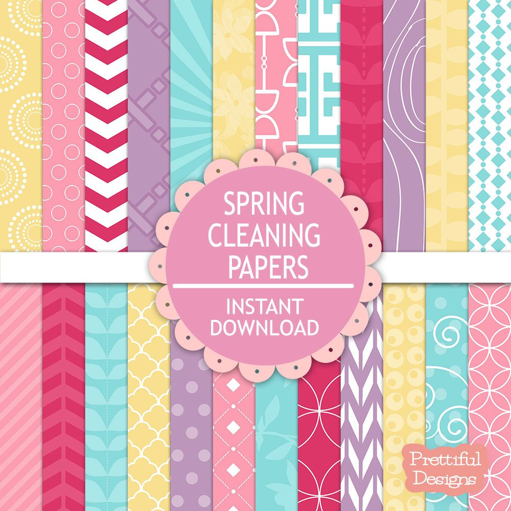 Digital Scrapbooking Pastel Printable Paper Pack Instant Download Spring Cleaning