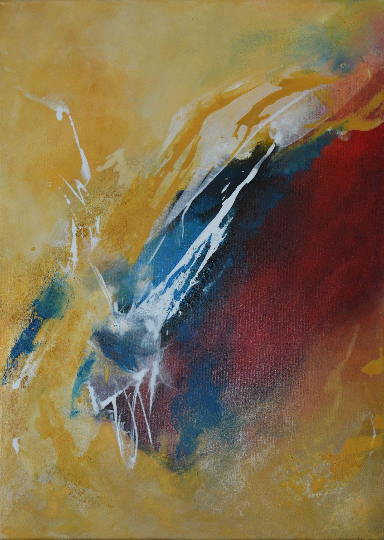 Abstrakt, Acrylbild auf Leinwand, Rot, Lichter Ocker, Blau ...