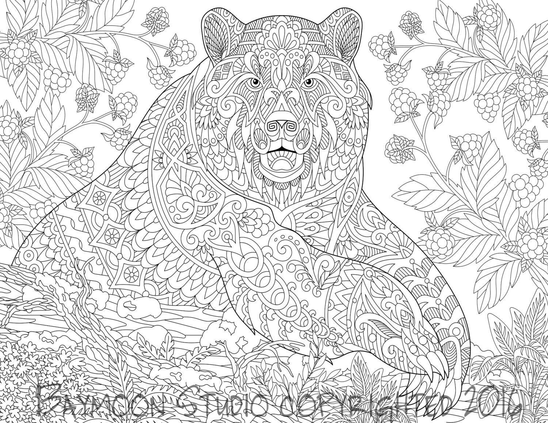 Mandala Para Colorear Animales: Oso Para Colorear Página Páginas Imprimibles Para Por
