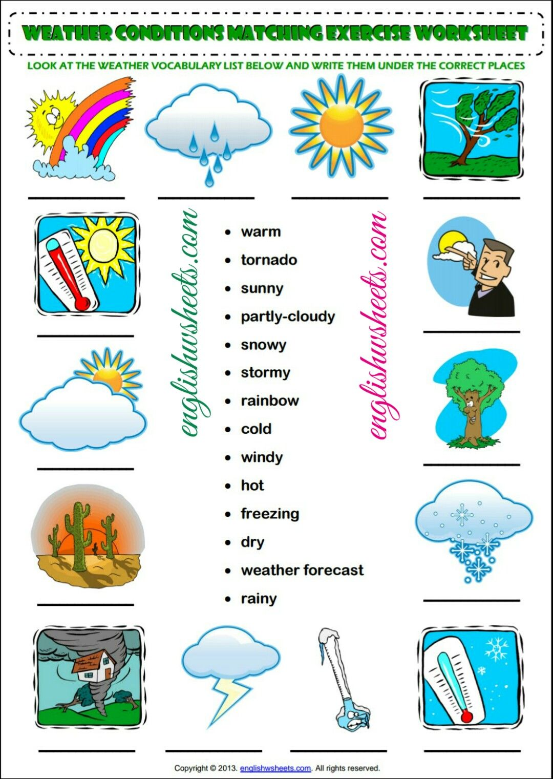 Esl Printable Weather Conditions Worksheets For Kids Esl