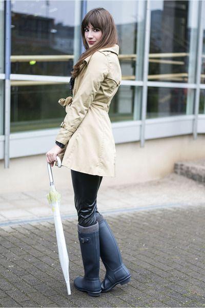Camel H&M Coats, Blue Hunter Boots   \
