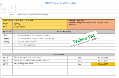 Mom Format Email Template Mom Template Excel Tutorials Project Management Templates