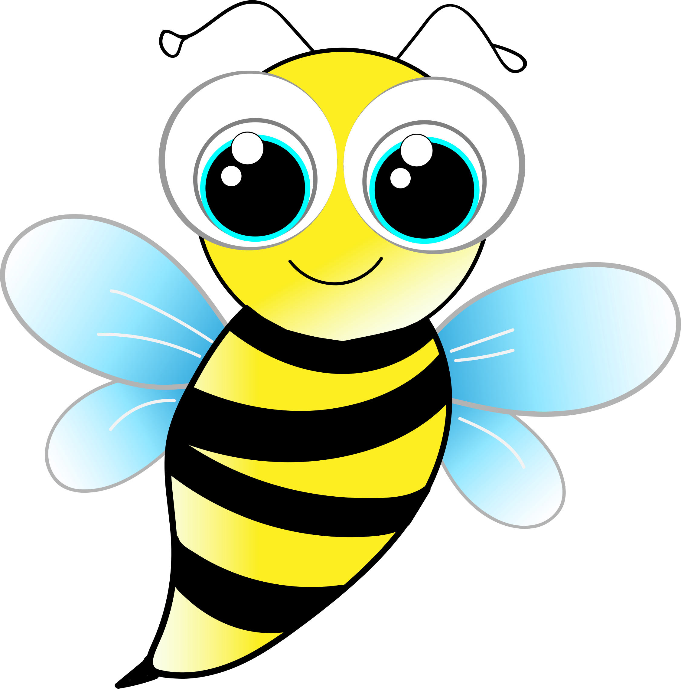 friendly bee by  gdj  from pixabay   on  openclipart the honey clipart with transparent background honey clipart black and white