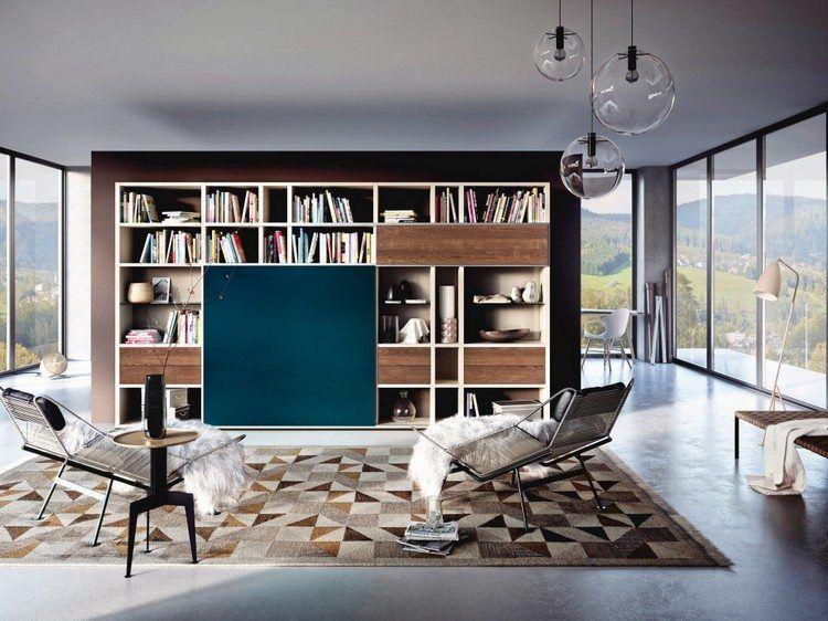 meuble tv bibliothque en bois massif et cran plat camoufl derrire une porte noire tapis - Meuble Tv Bibliotheque Noir