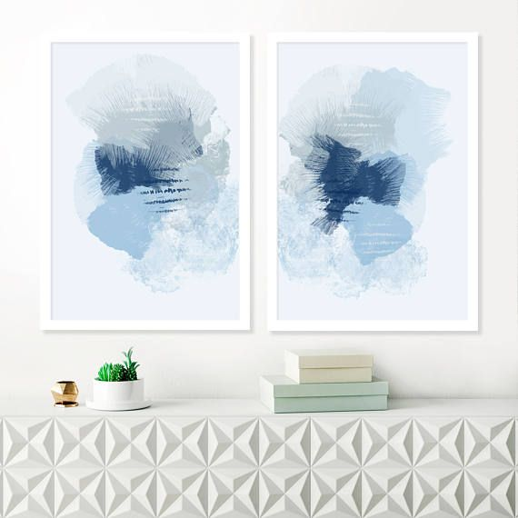 Blue Abstract Art Two Large Blue Paintings Pale Blue Diptych Wall Art Blue Abstract Painting Blue Abstract Art