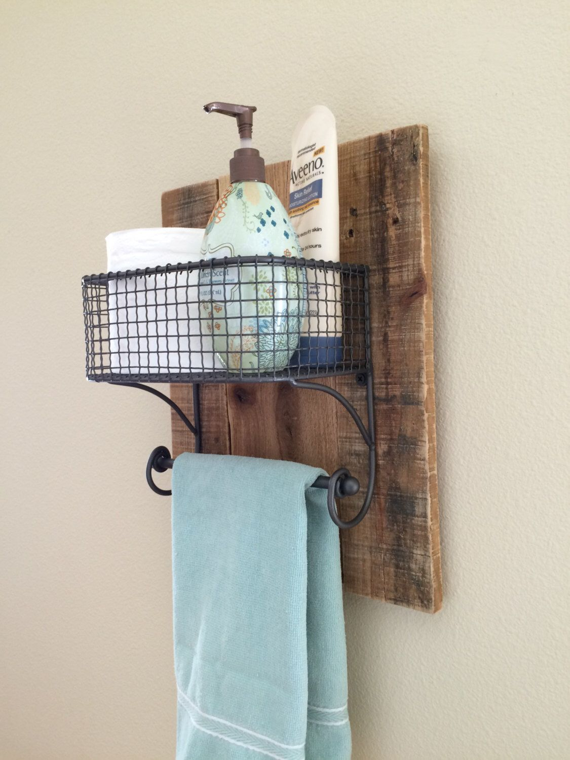 rustic hand towel bathroom organizer rack on natural