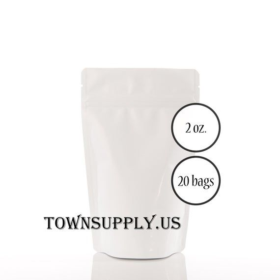 20 – 2 oz matte white stand up pouches, foil lined storage zipper bags, food safe packaging supply,