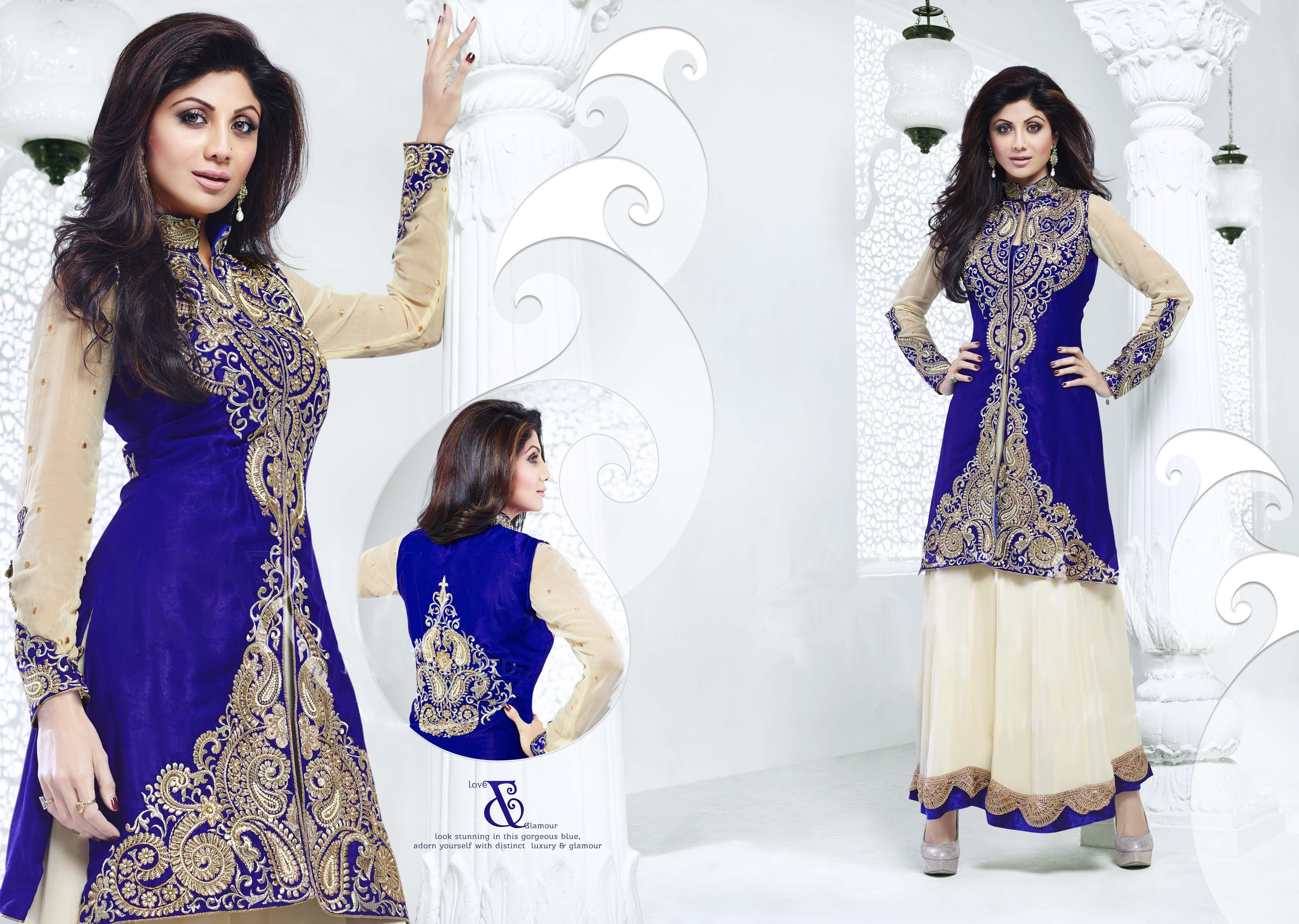 Shilpa Shetty In Cream & Blue Anarkali