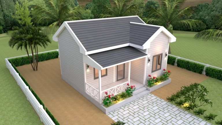 House Plans 7x6 With One Bedroom Cross Gable Roof House Design 3d Rumah Pedesaan Rumah Indah Denah Rumah