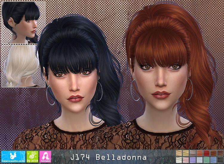 Newsea J174 Belladonna Hair The Sims 1 2 3 4