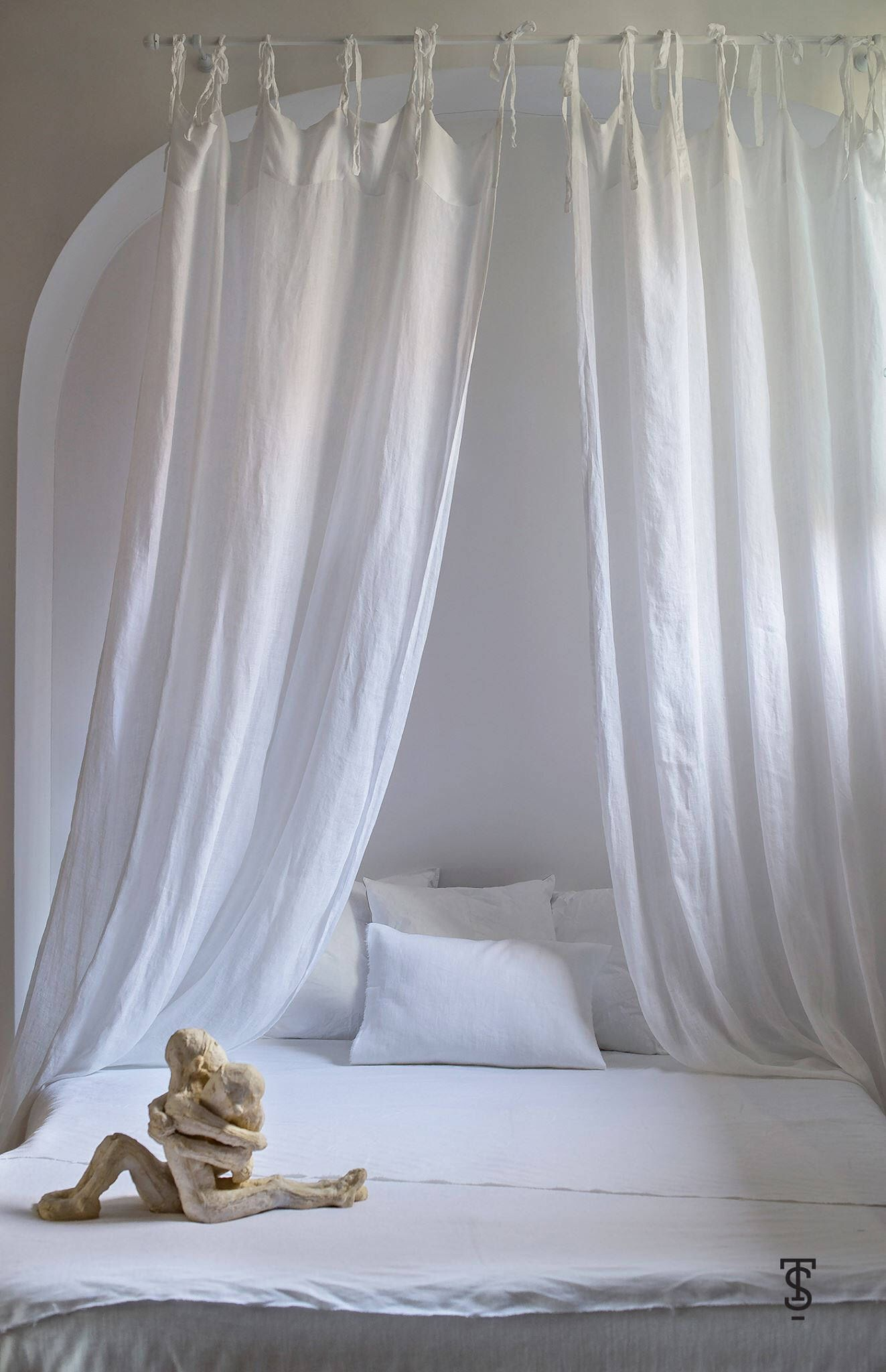 White Bed Canopy Linen Bed Canopy Canopy Bed Curtains Bed