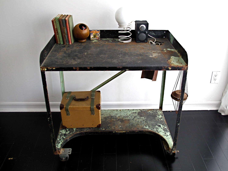 Metal Industrial Desk   Black Rolling Work Table, Industrial Furniture,  Casters, Work Bench