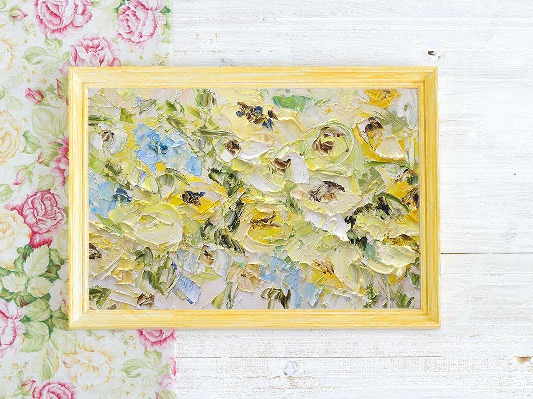 Flower Panting Knife Print Canvas Yellow Blue Light Color Canvas Art ...