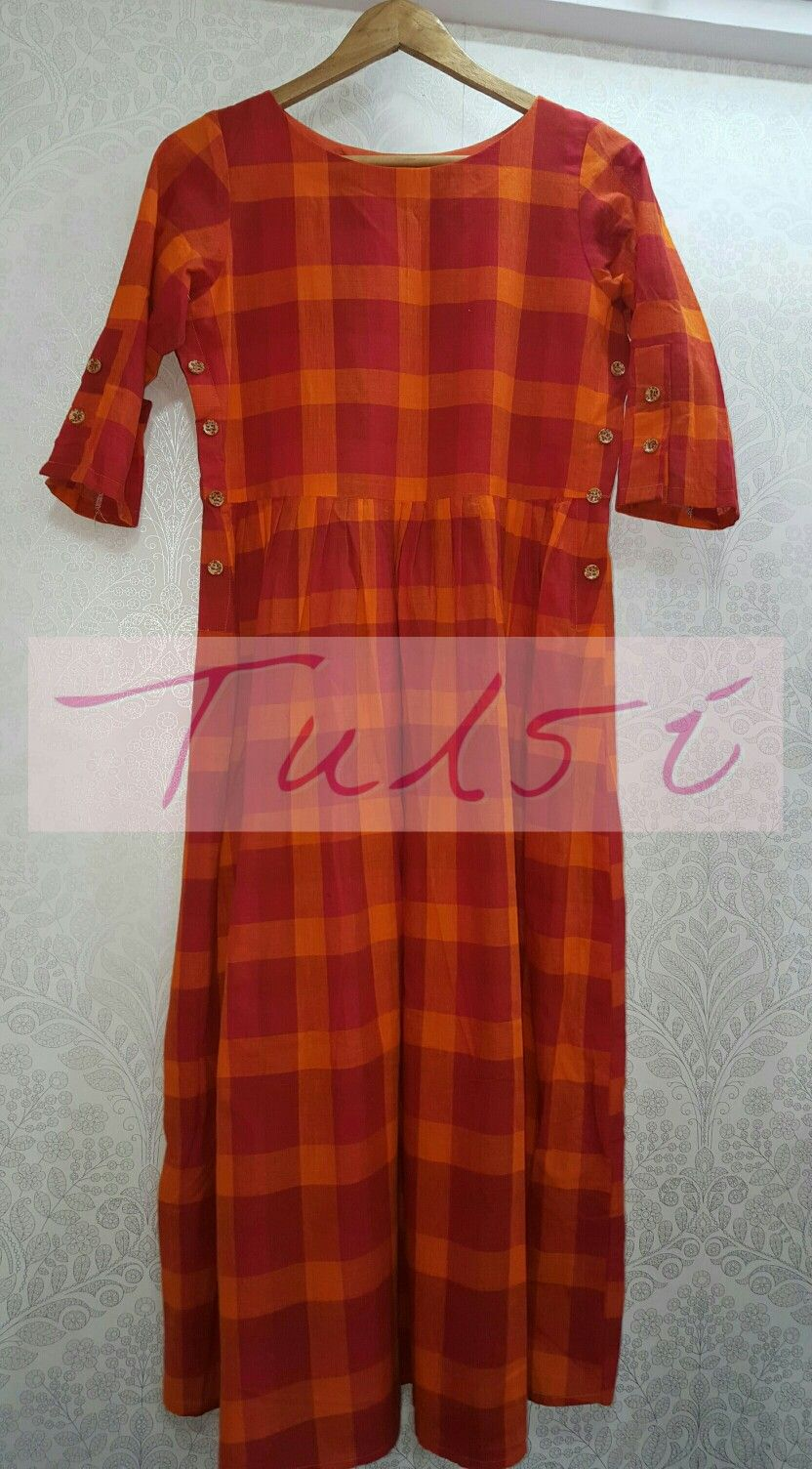 f10706fef0 Side buttons detail in chex frock cum tunic | Kurties & Gowns in ...