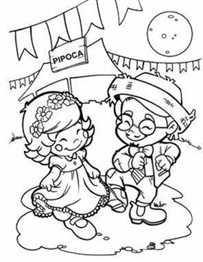 Casais De Festa Junina Para Imprimir E Colorir Desenho Festa