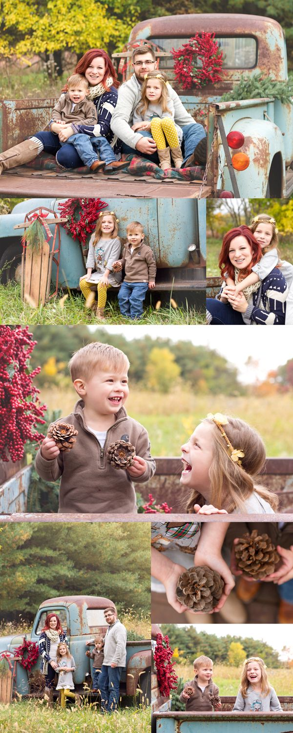 Holiday and Christmas Minis Photography Sessions in the woods. Family photography sessions featuring an old truck and vintage feel. Images are copyright of Bailey Warren Photography.