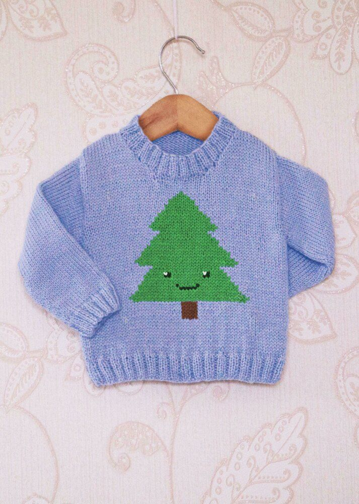 Intarsia - Simple Christmas Tree Chart - Childrens Sweater Knitting pattern by Instarsia #childrenssweaters