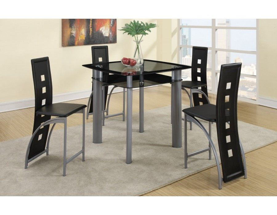 Black Metro Pub Set, Table+4 ChairsDining Room Sets