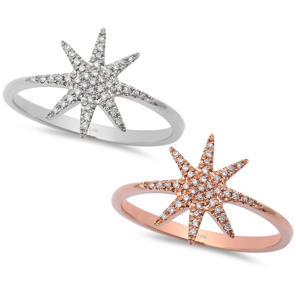 .08ct Pave Set Diamond 14kt White or Rose Gold STAR Snowflake Ring Size 6.5 #WithDiamonds
