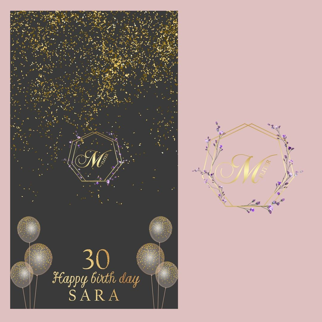 فلتر عيد ميلاد Banner Design Geometric Shapes Pale Pink Weddings