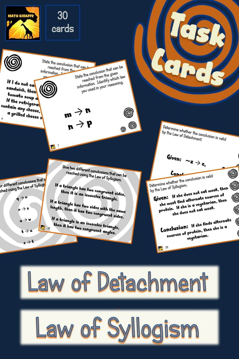 Task Cards Law Of Detachment And Law Of Syllogism Deductive