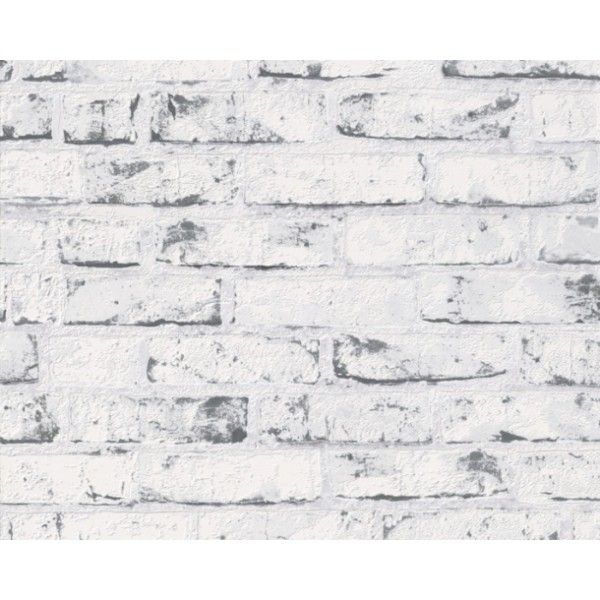 Grey Kitchen Feature Wall: Grey Brick White Washed Wallpaper. Would Be Great For A