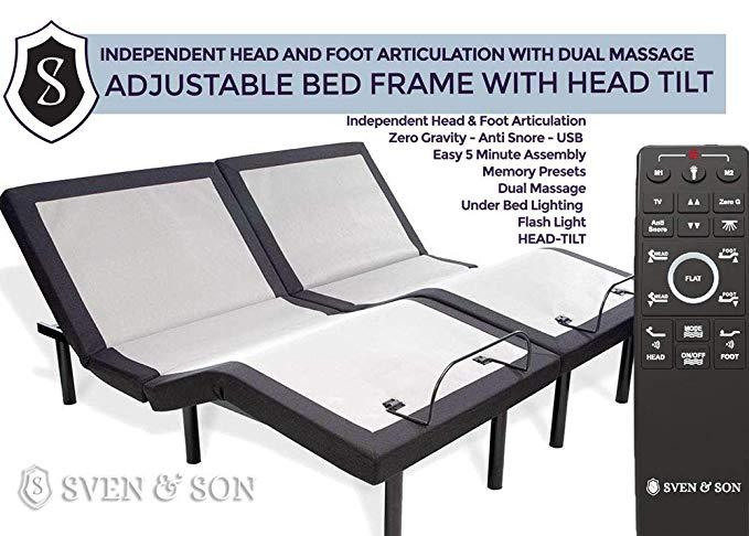Amazon Com Sven Son Split King Adjustable Bed Frame Base Head