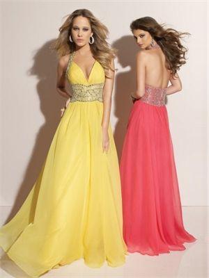 A-line Floor Length Halter Open Back Yellow Or Hot Pink Ed1008 Sequins Belt Evening Dress EVD078 www.tidebridaldresses.com $192.0000