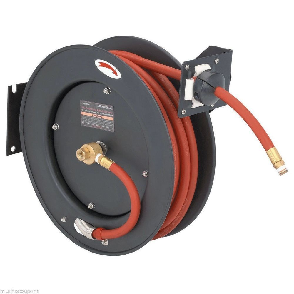 Harbor Freight Coupon 50 Ft Retractable Air Water Hose Reel 3 8 Hose 70 Off Air Hose Reel Retractable Hose Hose Reel