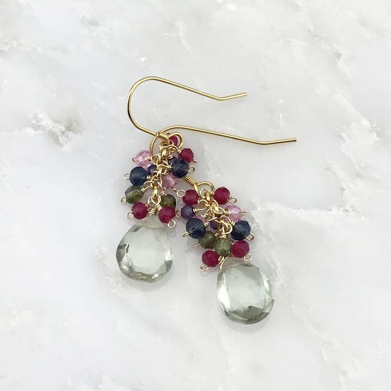 Garnet Green Amethyst Iolite 14K Gold Filled Handmade Earrings