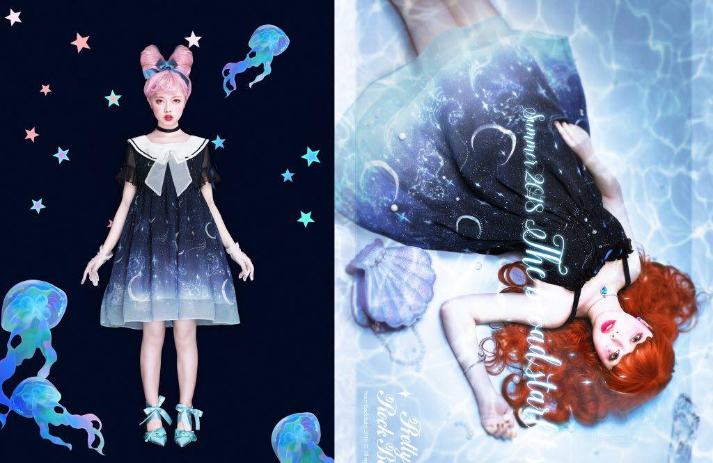 0abf15fdaa39 Pretty Rock Baby -Starry Night of The Summer- Sailor Lolita OP Dress ...