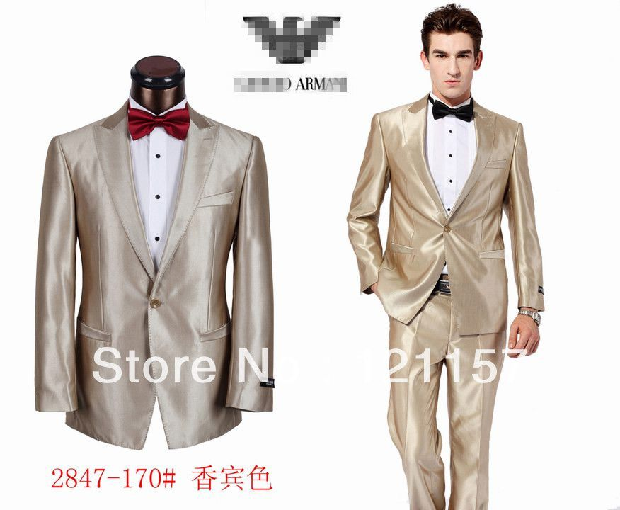 2013 Brand Name Champagne Gold Men Wedding Dress Suit Top Quality Sinnning  Tuxedo Too much?
