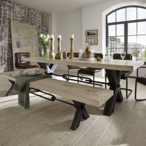 Light Wood Dining Table With Industrial Metal Legs With Bolts