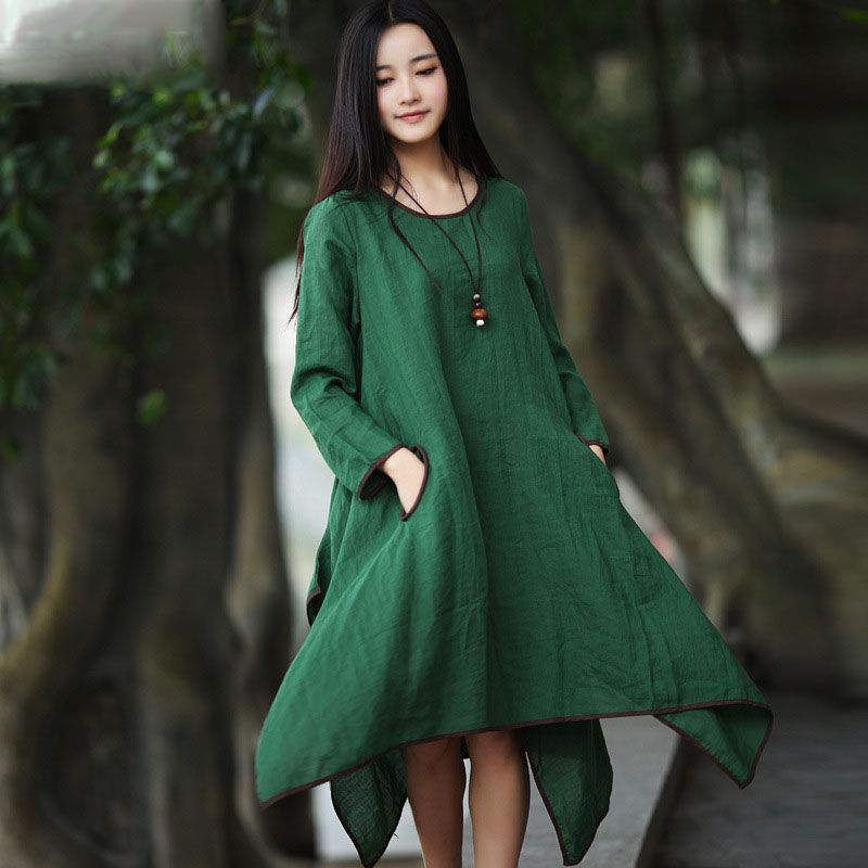 Find More Dresses Information about 2016 Spring Autumn New Women Casual Dress Long Sleeve Solid Color Round Neck Loose Side Slits Dress Plus Size Irregular Dress,High Quality dress luxury,China dresses in new york Suppliers, Cheap dress up girls dresses from Johnature on Aliexpress.com