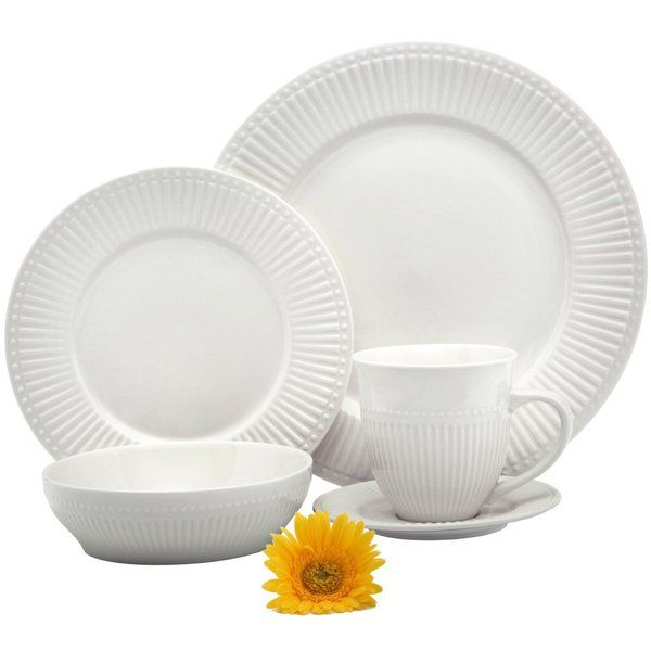 Melange 40 Piece Italian Classic White Premium Dinnerware Place Setting Service for 8 1170 MAD  sc 1 st  Pinterest & Melange 40 Piece Italian Classic White Premium Dinnerware Place ...