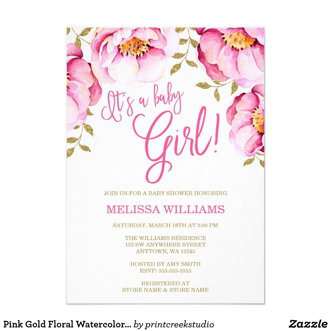 Pink Gold Floral Watercolor Baby Shower Invitation | Shower invitations