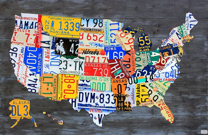 I Made Maps Of The Usa Out Of Vintage License Plates Dreamhouse - Us-map-made-out-of-license-plates