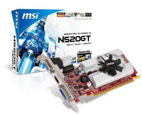 MSI - N520GT-MD1GD3/LP - Carte Graphique Nvidia GeForce GT 520 - 1024 Mo GDDR3 - LP