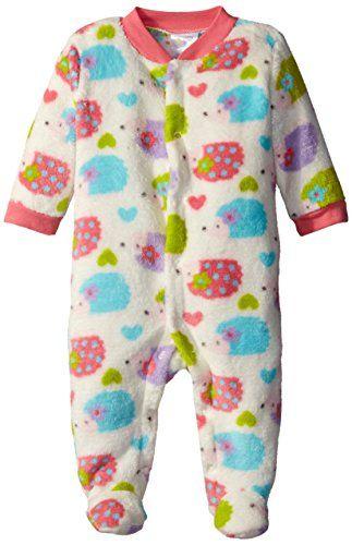 7bfaac3022a6 Baby Gear BabyGirls Newborn Printed Velboa Hedgehog Pajama Sleeper ...