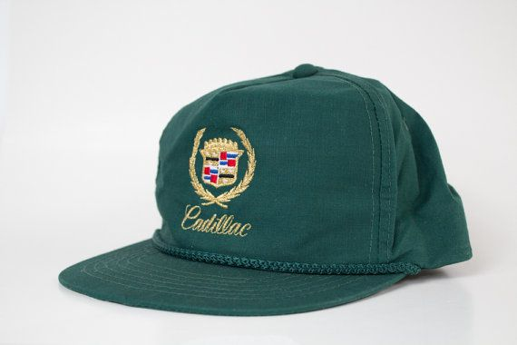 Vintage 80 s 90 s Cadillac Hunter Green Rope Trucker Snapback Hat ... c33ec3dc7652