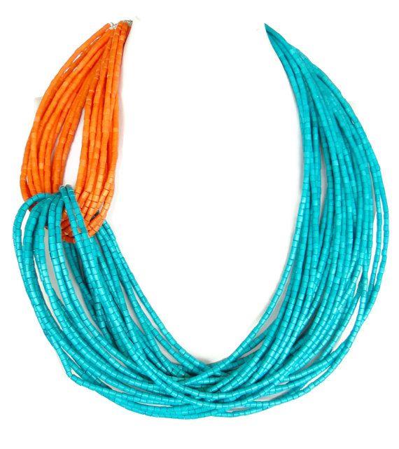 Orange And Turquoise Wood Statement Necklace Asymmetrical Orange