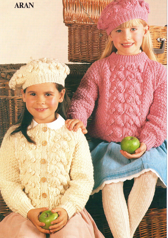 Knitting pattern childrens knitting pattern aran sweaters jumpers 20 knitting pattern childrens knitting pattern aran sweaters jumpers 20 30 inch aran beret hattoddler knitting dt1010fo