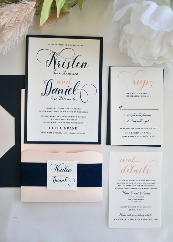 Blush Pink and Silver Gray Metallic Damask Pocket Wedding Invitations Set 5x7