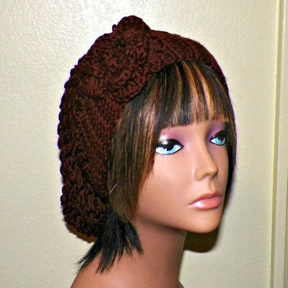 2b6715a0597 Brown Slouchy Hat Womens Crochet Summer Hippie Tam Beret Chocolate ...